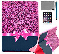 LEXY® Purple Leopard Pattern PU Leather Flip Stand Case with Screen Protector and Stylus for iPad Air 2/iPad 6