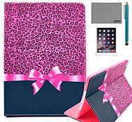 lexy® motif léopard violet cas de stand PU cuir flip avec protecteur d'écran et un stylet pour iPad air 2 / ipad 6