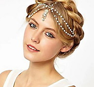 Women Alloy Chain Headbands Pearl Rhinestone Hair Accessories