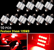 10X pure RED 31MM 12SMD Festoon Dome Map Interior LED Light DE3175 DE3021 DE3022