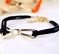 New Jewelry Fashion Black Leather Cord Bowknot Bracelet