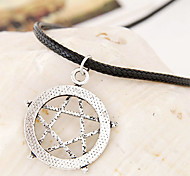 European Style Fashion Metal Lucky Star Leather Cord Necklace