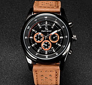 V6 Men's Military Design Leather Strap Quartz Casual Watch Cool Watch Unique Watch