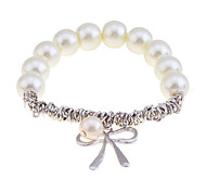 Korean Fashion Pearl Bowknot Pendant Alloy  Bracelet