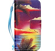 Sea at Sunset Pattern PU Leather Material Flip Card Phone Case for iPhone 5C