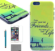 LEXY® Green Coast Pattern Hard PC Back Case with 9H Glass Screen Protector and Stylus for iPhone 5C