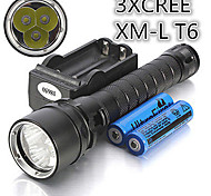 Torce LED / Torce da immersione / Torce - LED - Multiuso - Impermeabili / Ricaricabile 1 Modo 4000 Lumens 18650 Cree XM-L T6 Batteria