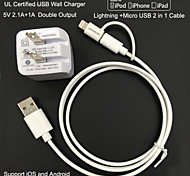 UL Certified Travel Wall Charger 1A/2.1A Double output+Apple MFi Certified Lightning +Micro USB cable For iPhone 6S/5S