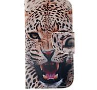 patrón del leopardo de la PU cuero caso de cuerpo completo con ranura para tarjetas y soporte para Samsung Galaxy S4