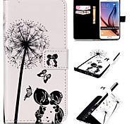 padrão namorados de infância caso pu carteira de couro com stand titular e para o cartão por Samsung Galaxy S6 borda mais