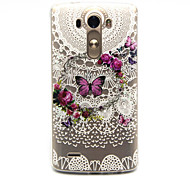 Butterfly Wreath Pattern TPU Relief Back Cover Case for LG G3