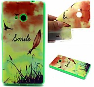 Smiling Face Feathers Words Phrase Pattern 0.6mm Ultra-Thin Soft Case for Lumia 535