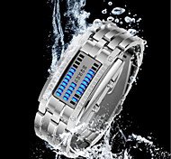 Luxury Waterproof LED Electronic Men Women Stainless Steel Wristwatches Blue Binary Displayer Luminous Sports Watches