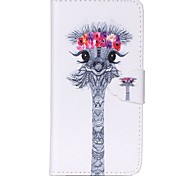 Finger Buckle Ostrich Head Painted PU Phone Case for iphone 6/6S