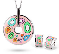 Stainless Steel Woman Jewelry Sets Vintage Elegant Colorful Flower Silver Plated Enamel Jewelry Set