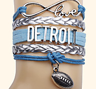 Vintage European Multistorey Alloy Leather Bracelet Ball Game Style Wrap Bracelets 1pc