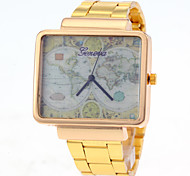Men's World Map Pattern Square Dial Gold Steel Quartz Watch