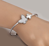 European  fashion titanium steel silver butterfly bracelet Clover Cuff Bracelets Wedding / Party / Daily / Casual 1pc