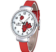 Skone 5062 Shell Face Diamond Female Quartz Watch Luminous Pointers PU Band womens watch