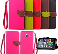 Leaf Pattern PU Wallet Leather Case with Hand Line for Nokia 640 XL/N640/Lumia 730/Lumia 535(Assorted Colors)
