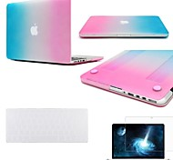 """3 in 1 Regenbogen-bunte gummierten Schutzhülle Case für MacBook Pro 13 """"/ 15"""" + Tastatur-Abdeckung + Displayschutzfolie"""