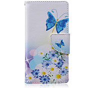 Blue Butterfly Painted PU Phone Case for Sony Xperia M2/M4