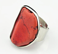Vintage Antique Silver Copper Irregular Turquoise Stone Adjustable Free Size Ring(1PC)