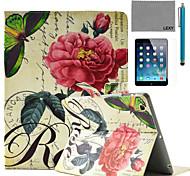 lexy® China aumentó patrón sello de la PU del caso del soporte del tirón del cuero con protector de pantalla y el stylus para ipad aire /