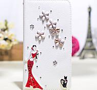 diamante hecho a mano de la dama en cuero rojo de la PU caso de cuerpo completo con pie de apoyo para el Samsung Galaxy Note 2/3/4/5