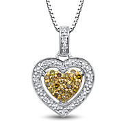 Women's Heart Shape Sterling Silver set with Yellow diamond and Diamond  Pendant with Silver Box Chain