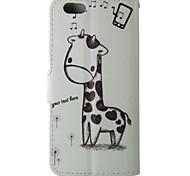 Cartoongiraffenmuster PU-Leder Flip-Schutzhülle mit Magnetverschluss und Kartensteckplatz für iphone 5c