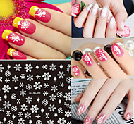 1pcs Christmas White Snowflake Snowman Series Nail Sticker