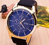 Men Blue Glass Black Wrist Watch