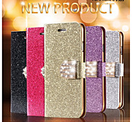 Luxury Shiny Diamond Full PU Leather Case Cover With Safe Buckle Cell Phone Bling Case For iPhone 6 Plus/6S Plus