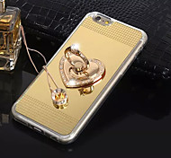 Love Stent Ring with Diamond Buckle Plated Mirror Holder TPU Material Cell Phone Case for iPhone 6/ 6S (Assorted Colors)