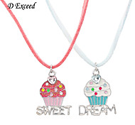 "D exceed Cute Girl Fashion Double Icecream Pendant Necklace for Children ""SWEET""""DREAM"" Women necklace"