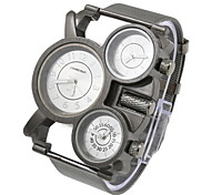 Men's Fashion Three Time Zones Black Steel Quartz Watch