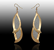 European fashion new dual-drop golden patches of black and white and silver  Drop Earrings