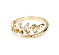 European and American Style Fashion Gold-Plated Zircon Open Ring