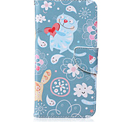 Cat Pattern PU Leather Material Flip Card Phone Case for iPhone 6 Plus/6S Plus