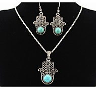 Turquoise Fatima's Hand Palm Pendant Silver Necklace & Earrings Jewelry Set