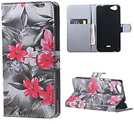 Red Flowers Card Holder Leather Stand Case for Wiko Rainbow Jam