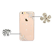 Transparent Bling Floral Mobile Plastic Crystal Rhinestone Hard Back Cover for iPhone 5C