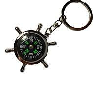 Alloy Key Chain Popular Compass Rudder Keychains with Metal Rotary Connector