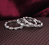 2015 Fashion 18KGP Siliver Plated Noble 3pcs CZ Stone Ring Band Rings For Woman & Lady