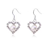 Drop Earrings Pearl Silver Plated Simulated Diamond Heart Fashion Heart White Champagne Jewelry Party Daily Casual 2pcs