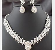 Lucky Doll 925 Silver Plated Gemstone & Crystal Zirconia geometry Water Drop Tassel Necklace & Earrings Jewelry Sets