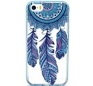 2-in-1 campanula blauen Federn Muster TPU rückseitige Abdeckung mit pc Autostoßfest Hülle für iPhone 5 / 5s