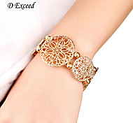 D Exceed Women Gold Hollow Flower Bracelet Jewelry European Style Wide Bracelets Bangle New Elastic Bracelets