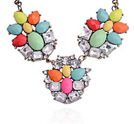 European Style Colored Gems Drill Alloy Necklace